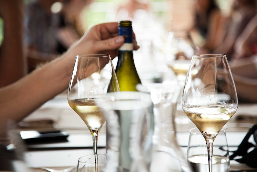 White wine on a lunch table.