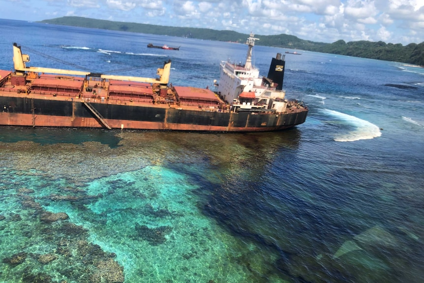 Oil is seen in the reef at Lavagu Bay.