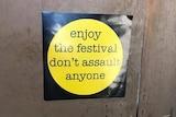 Anti-assault sticker in toilets at Falls Festival