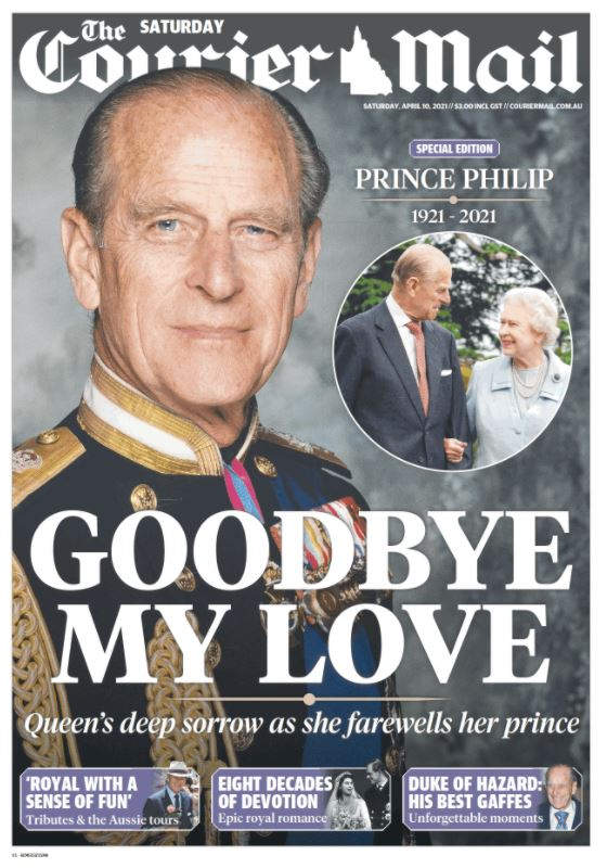 The front page of the Courier Mailnewspaper the day after the death of Prince Philip.