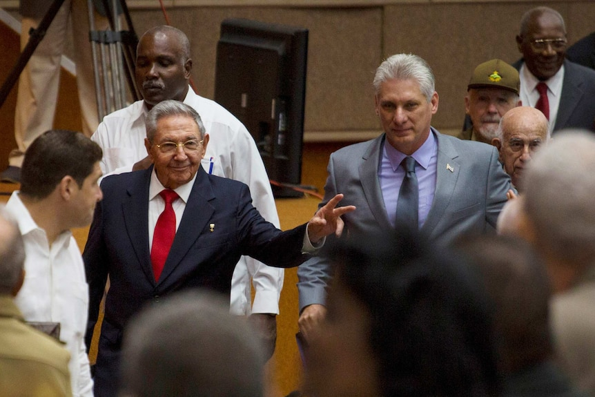 Raul Castro and Miguel Diaz-Canel together