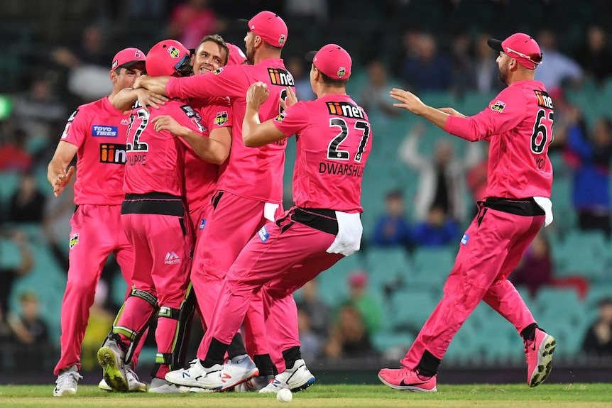 A group of Sydney Sixers in their pink kits celebrate a wicket.