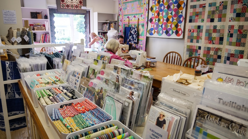 Inside the Berry Quilting shop it is bright and cheerful
