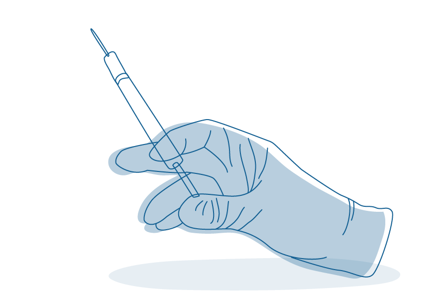 Illustration of gloved hand holding needle for vaccination.