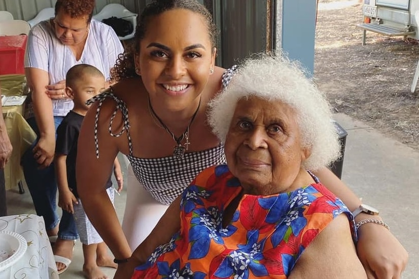 Rachel Warcon smiles with her arm around her grandmother Daphne Florence Warcon nee Malamoo.