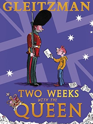 Book cover of Two Weeks with the Queen by Morris Gleitzman. Purple with a drawing of a guard being handed a letter by a boy.