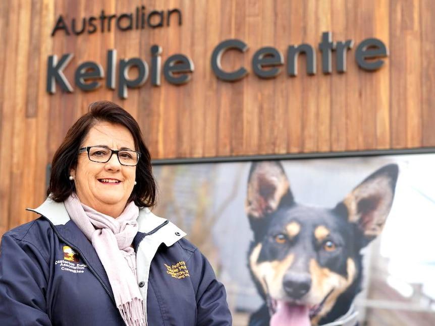 Casterton Kelpie Association President Karen Stephens smiles outside the Australian Kelpie Centre in Casterton.