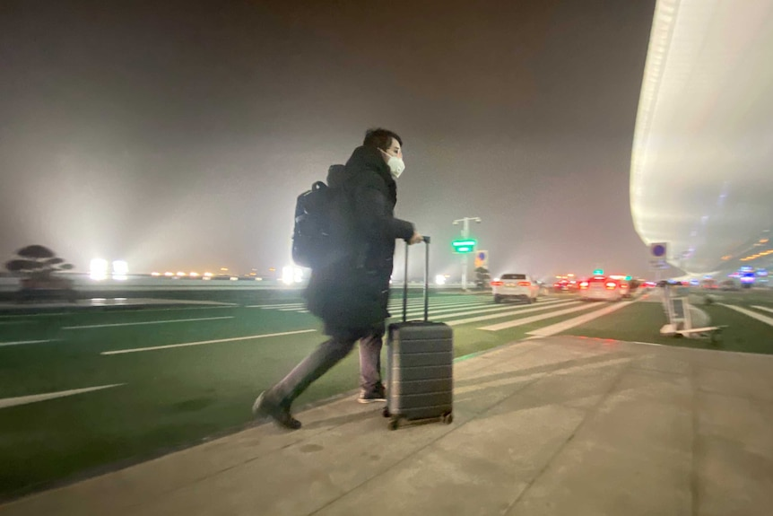 Woman wearing mask wheeling suitcase on tarmac at night.