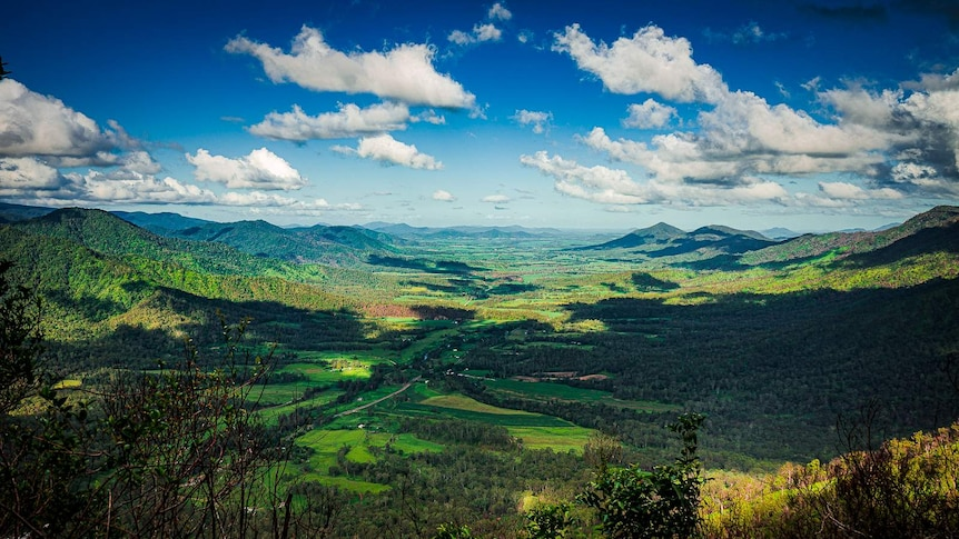 Shot of the Pioneer valley from Eungella, with steep slopes ether side of the valley