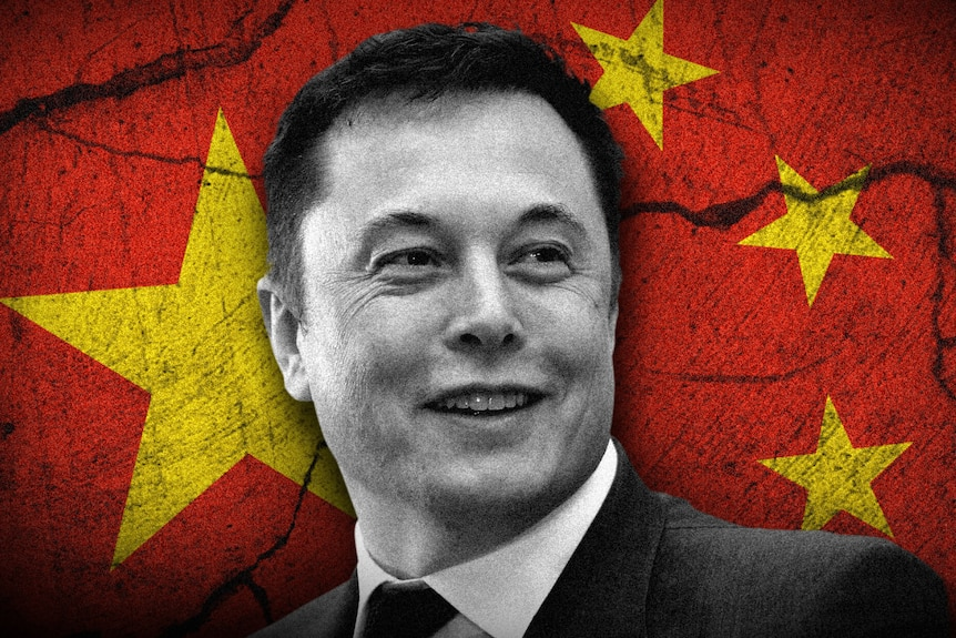 An image of Elon Musk in front of the Chinese flag