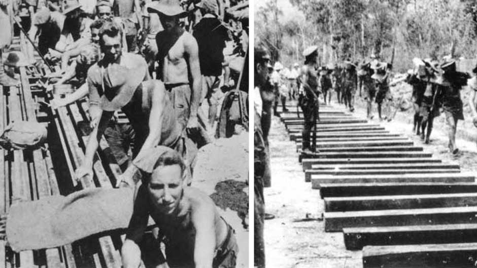 Australian prisoners of war perform forced labour on the Thai-Burma railway 1943 and 1944