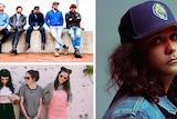 Collage: Bad//Dreems sitting on a concrete wall, Birdz wearing denim jacket and snapback hat; Camp Cope leaning against a wall