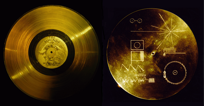 An image depicting two sides of a golden record. On one side it says The Sounds of Earth. On the other side are various diagrams