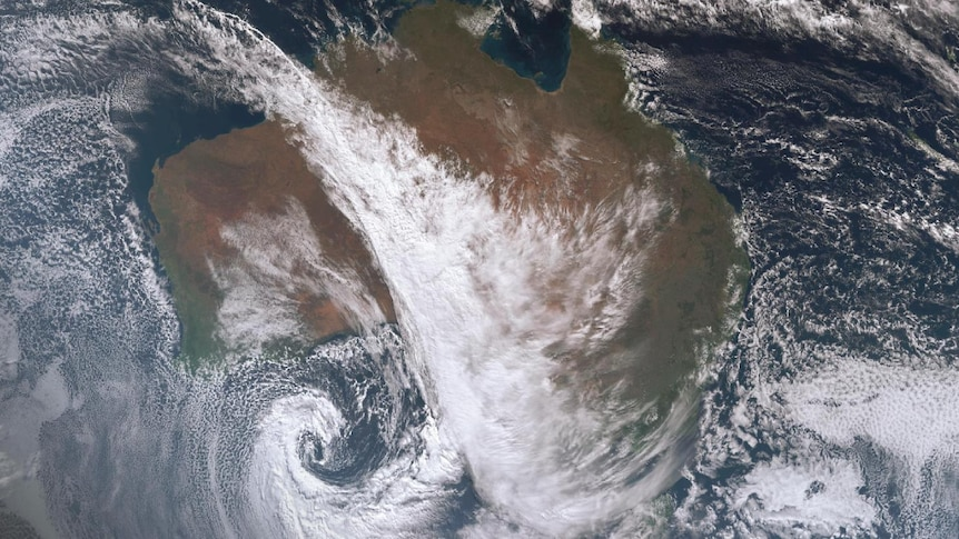 Satellite Image of showing cloud reaching from the NW to the SE of Australia