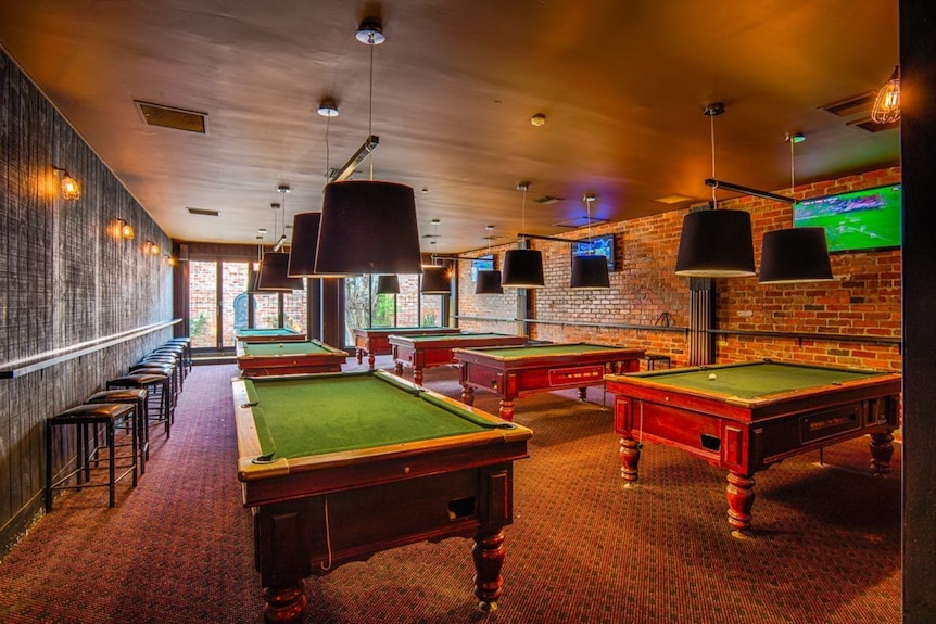 Interior of pool room at the Civic Hotel, Braddon.