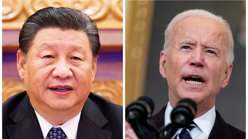 A composite image of Chinese President Xi Jinping and his US counterpart Joe Biden