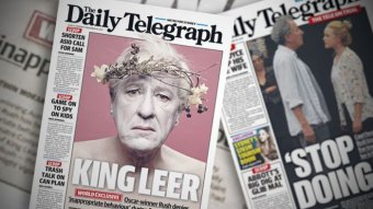 Geoffrey Rush on the cover of a newspaper