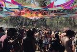 Market stage dancefloor at Rainbow Serpent 2014.