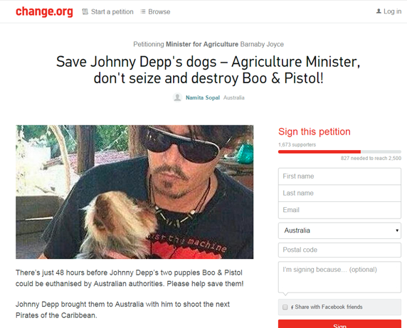 A change.org petition has been created by Sydney woman Namita Sopal urging supporters to help save Depp's dogs on May 14, 2015