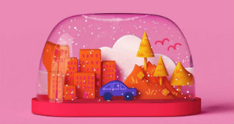 Illustration shows car moving from the city to the country inside a snow globe
