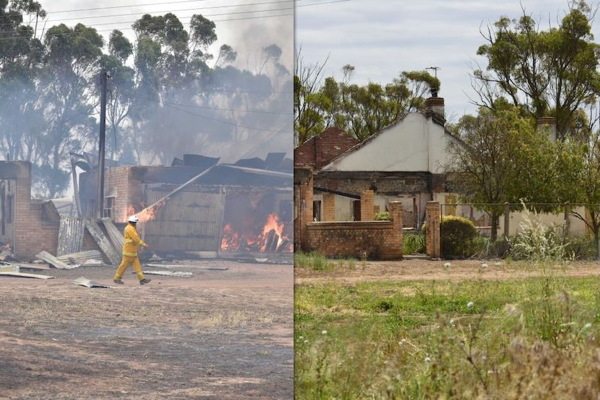 Before and after photos from the Pinery fire ground.