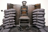 A chair with limb and head straps sits between sandbags in front of a wooden panel.
