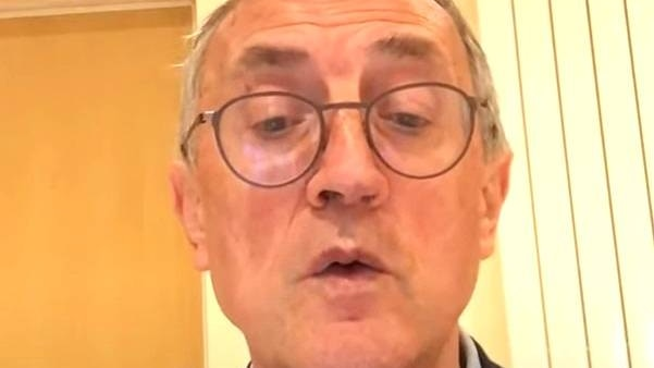 A still from a YouTube video showing English PR consultant Peter Prowse.