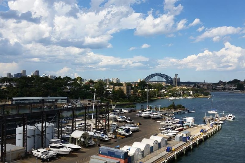 View from a cruise ship docked in White Bay at Balmain in Sydney Harbour