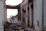 Fires burn in part of the Medecins Sans Frontieres hospital in Kunduz, Afghanistan, days after an air strike.
