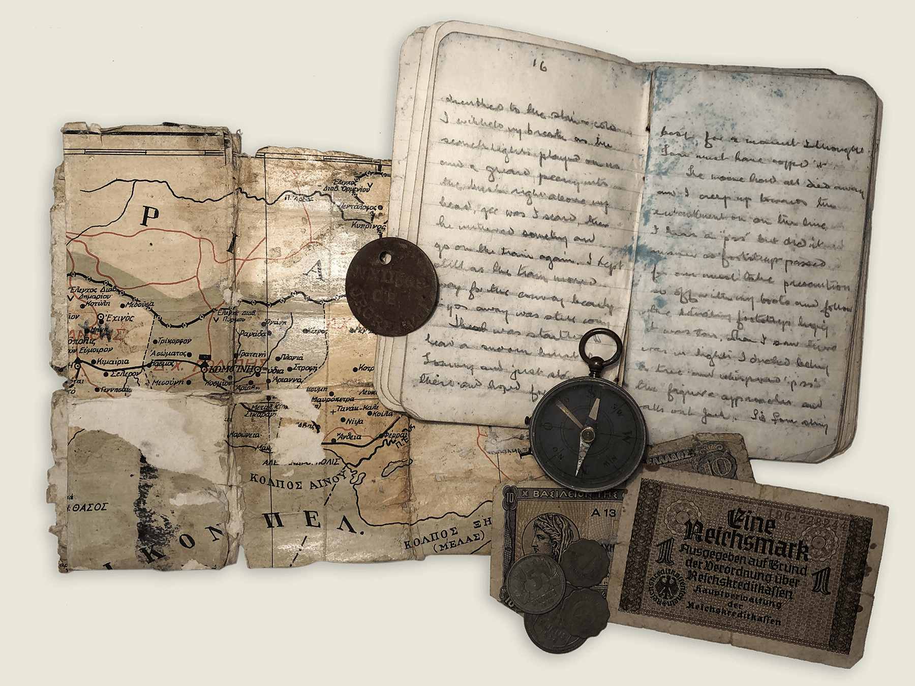 Jack's escape map, compass, diary, ID tag