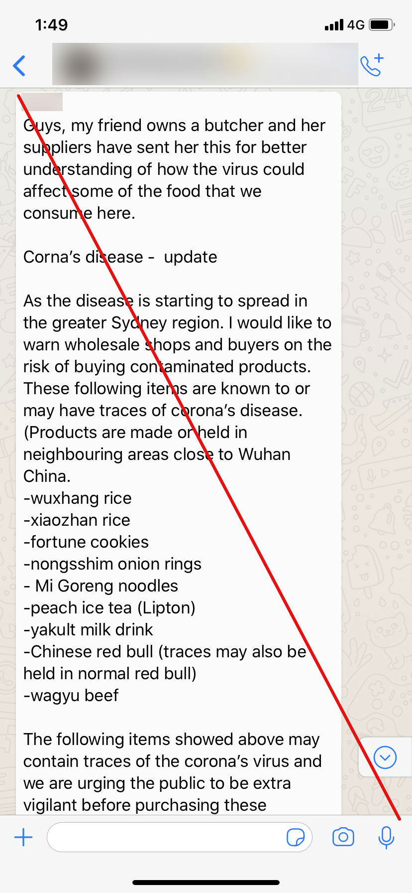 A WhatsApp screenshot showing text.