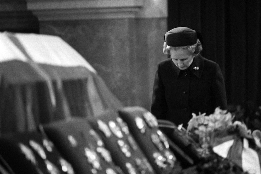 Margaret Thatcher at Marshal Tito funeral in 1980.