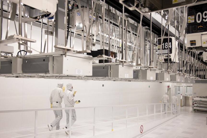 The clean rooms at the Globalfoundries semiconductor fabrication plant in Dresden