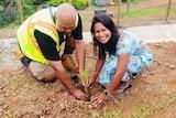 Sutapa Howlader planting a tree in Suva, Fiji