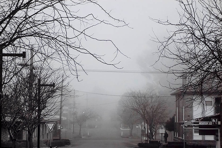 Black and white image of a foggy rural street