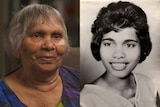 Composite of an elderly Indigenous woman today with an older portrait of her as a younger woman on the right.