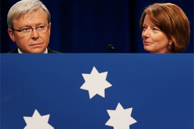 Kevin Rudd and Julia Gillard arrive at the 45th National Labor Conference on July 30