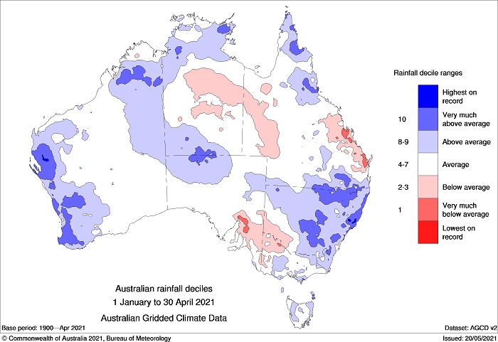 Year to date rainfall deciles