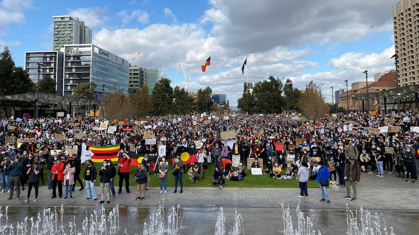 A large crowd at Adelaide's Victoria Square, demonstrating in support of the Black Lives Matter movement.