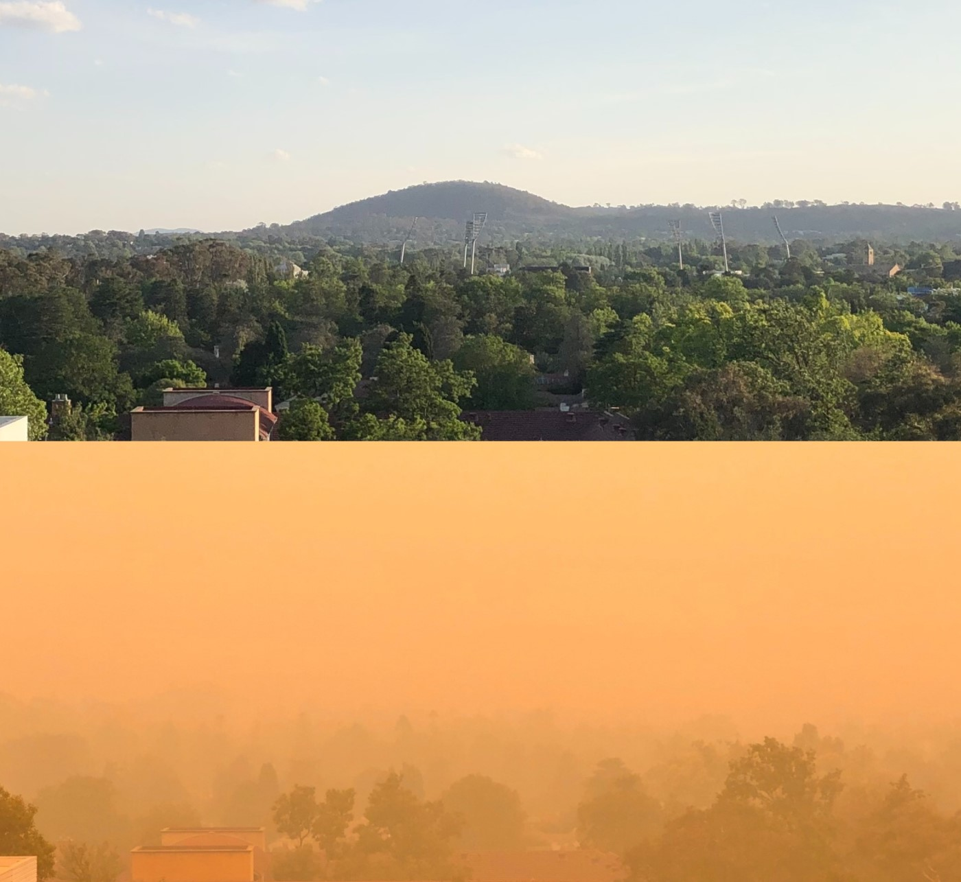 Two photos of the same leafy suburban landscape, one showing clear skies, the other a thick orange haze.