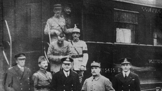 Ferdinand Foch pictured outside the carriage in Compiegne after agreeing to the armistice that ended World War I.