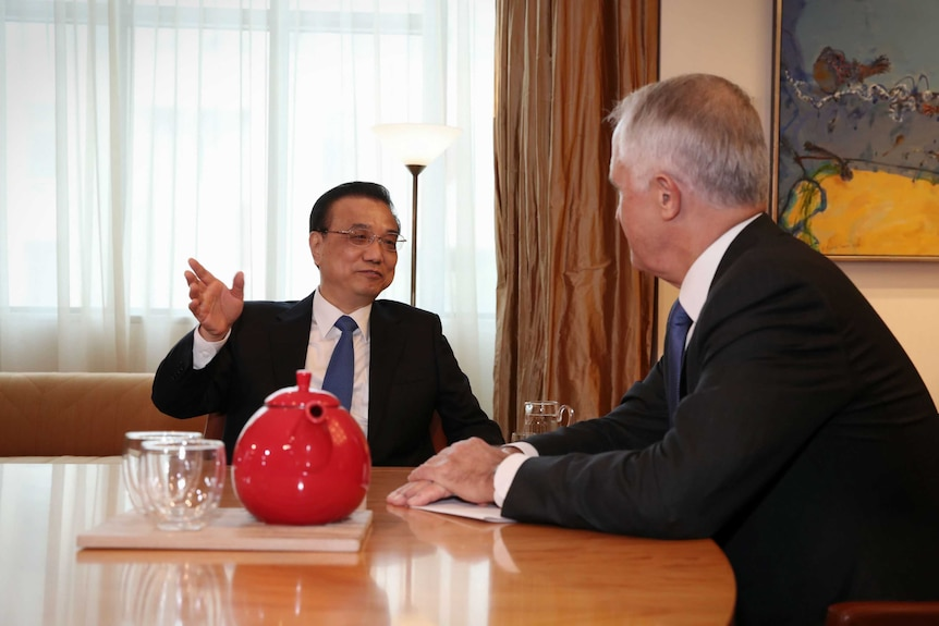 Malcolm Turnbull with Chinese Premier Li Keqiang