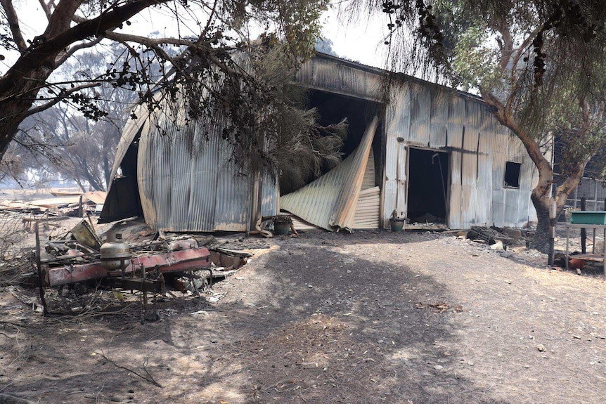 A shed and trailer destroyed by the fire on Kangaroo Island.
