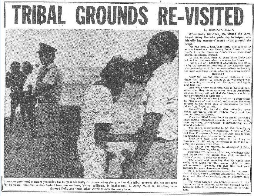 A copy of an old newspaper article that pictures Corporal Dolly visiting her traditional lands after 50 years away.
