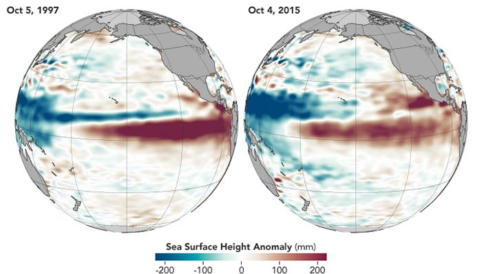Maps comparing El Nino patterns in the Pacific Ocean in 1997 and 2015
