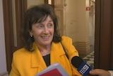 Frances Bedford speaks to the media.