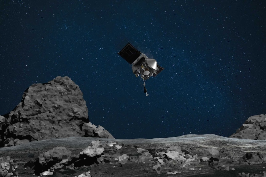 An artist's depiction of a space probe descending from a dark sky to the uneven grey surface of an asteroid