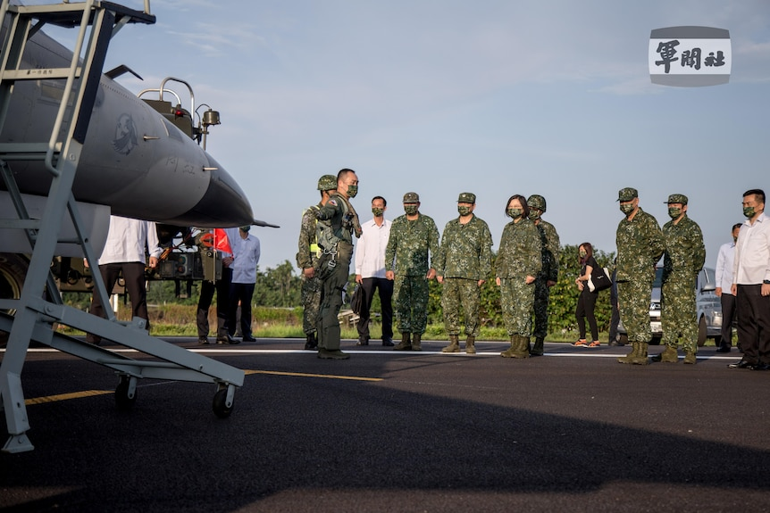 Taiwanese president Tsai Ing-wen attends a fighter jet drill in Taiwan, 15 September 2021.