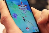 Close-up of a phone running Pokemon Go