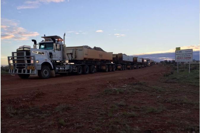 Trucking of ore from Tarcoola to Challenger